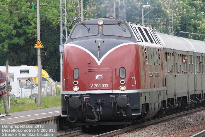Dampfspektakel 2018: Historischen Diesellokomotive V 200 033, Bauart B'B', Kraus-Maffei 1956, Museumseisenbahn Hamm