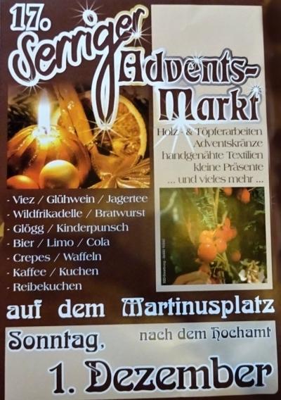 17. Serriger Adventsmarkt am 1.12. 2019 auf dem Martinusplatz.
