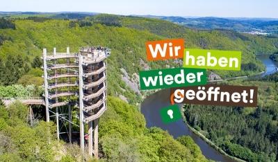 Spektakuläre Aussicht bietet der Baumwipfelpfad Saarschleife wieder ab dem 8. Mai 2020. Bildquelle: Erlebnis Akademie AG.