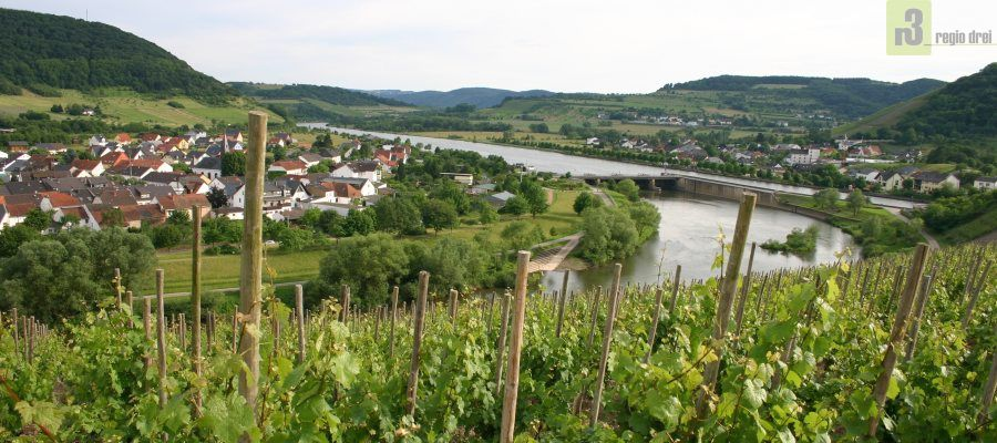 v.l.n.r.:  Blick zu den Weinorten Schoden und Ayl mit dem Ortsteil Biebelhausen. Zusehen ist auch die Stauhaltungen Schoden an der Saar.