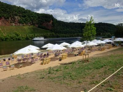 Der Moselstrand in Trier im Juli 2020. Foto: regiodrei