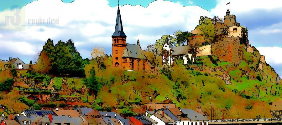 Blick auf die Burganlage in Saarburg