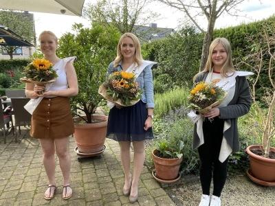 V.l.n.r.: Prinzessin Nina Marschel, Viezkönigin Laura Portz und Prinzessin Nelli Kiefer. Bildquelle: Sarah Klemm